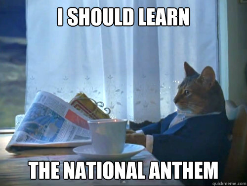 i should learn the national anthem - The One Percent Cat