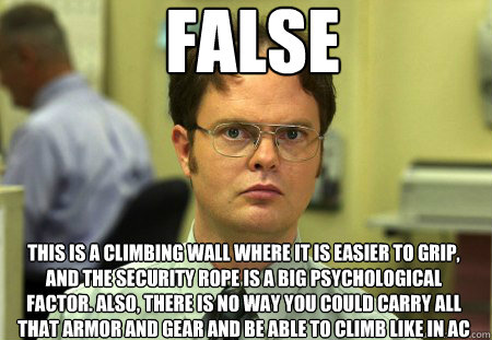 false this is a climbing wall where it is easier to grip an - Dwight