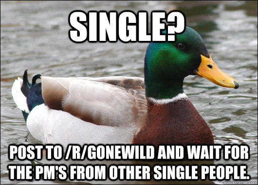 single post to rgonewild and wait for the pms from other - Actual Advice Mallard