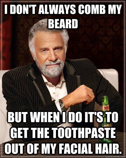 i dont always comb my beard but when i do its to get the t - The Most Interesting Man In The World