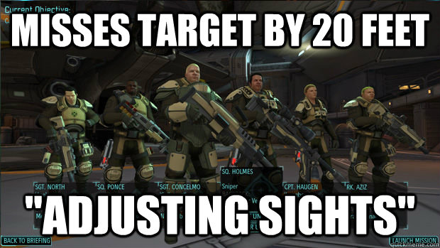 misses target by 20 feet adjusting sights - xcom logic