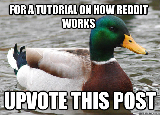 for a tutorial on how reddit works upvote this post - Actual Advice Mallard