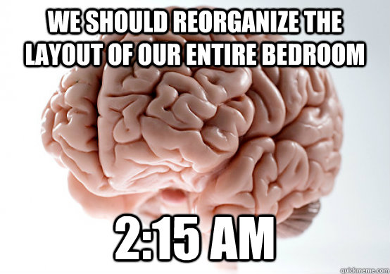 we should reorganize the layout of our entire bedroom 215 a - Scumbag brain