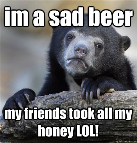 im a sad beer my friends took all my honey lol - Confession Bear