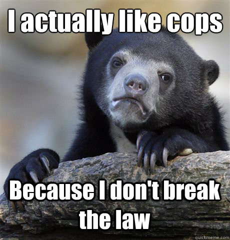 i actually like cops because i dont break the law - Confession Bear
