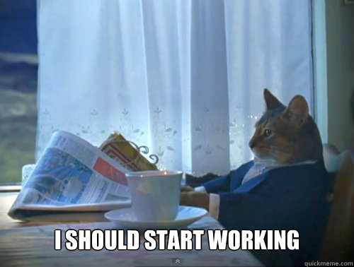 i should start working - The One Percent Cat