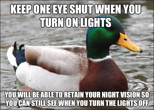 Keep one eye shut when you turn on lights You will be able t - Actual Advice Mallard