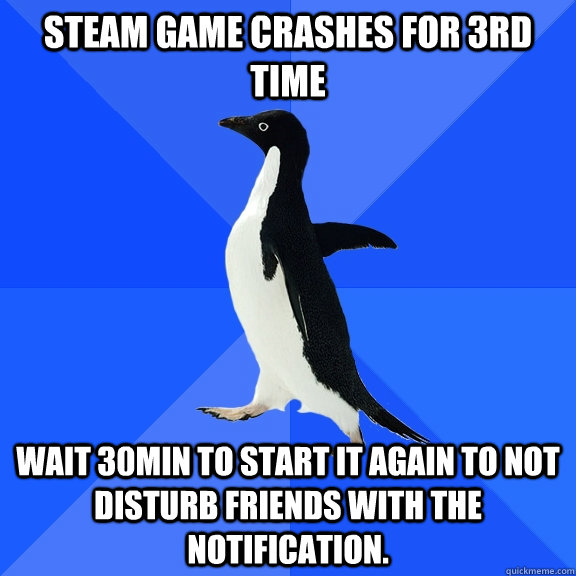 steam game crashes for 3rd time wait 30min to start it again - Socially Awkward Penguin