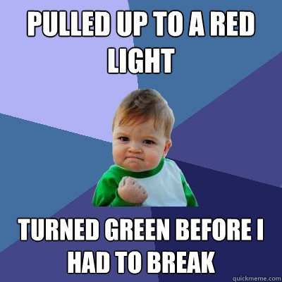 pulled up to a red light turned green before i had to break - Success Kid