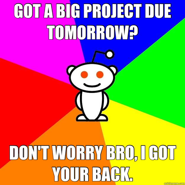 GOT A BIG PROJECT DUE TOMORROW? DON'T WORRY BRO, I GOT YOUR  - Reddit Alien