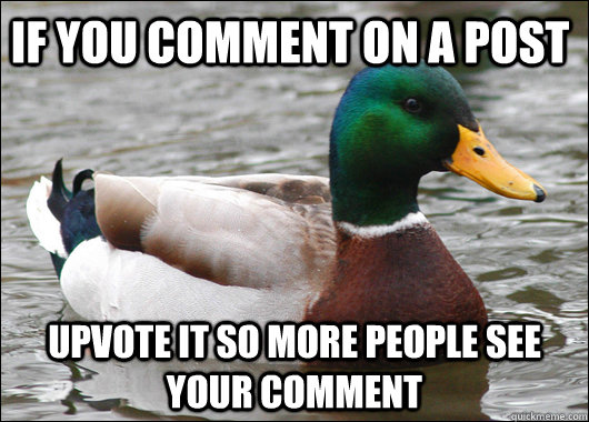 if you comment on a post upvote it so more people see your c - Actual Advice Mallard