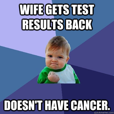 wife gets test results back doesnt have cancer - Success Kid