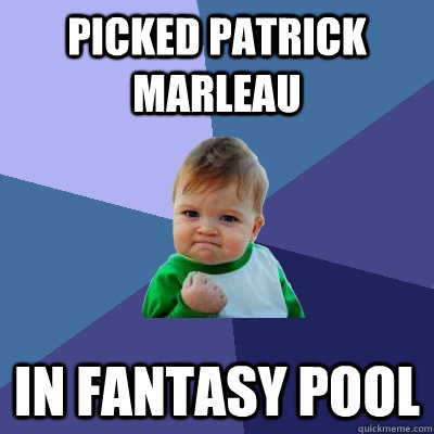 picked patrick marleau in fantasy pool - Success Kid