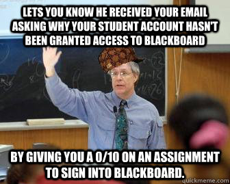 lets you know he received your email asking why your student - Scumbag Professor