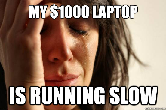 my 1000 laptop is running slow - First World Problems
