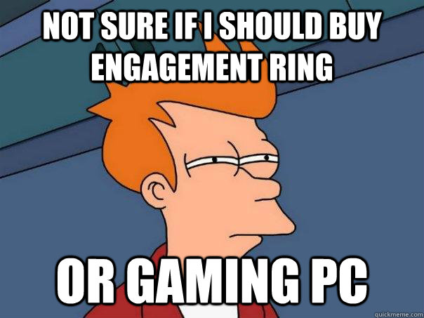 not sure if i should buy engagement ring or gaming pc - Futurama Fry