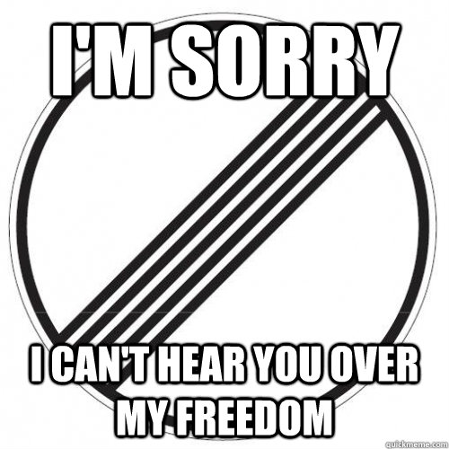 im sorry i cant hear you over my freedom -