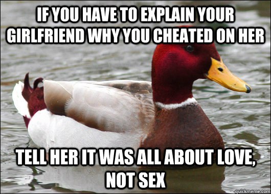 if you have to explain your girlfriend why you cheated on he - Malicious Advice Mallard