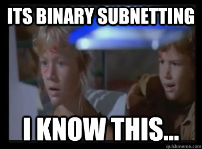 its binary subnetting i know this -
