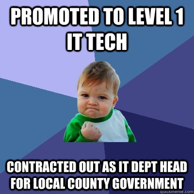 promoted to level 1 it tech contracted out as it dept head f - Success Kid