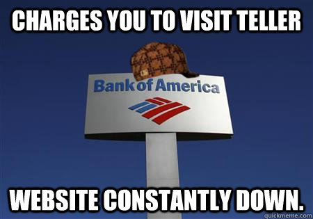 charges you to visit teller website constantly down - Scumbag bank of america