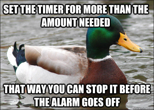set the timer for more than the amount needed that way you c - Actual Advice Mallard
