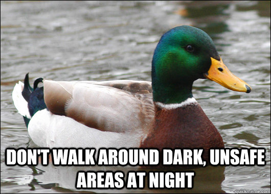 dont walk around dark unsafe areas at night - Actual Advice Mallard