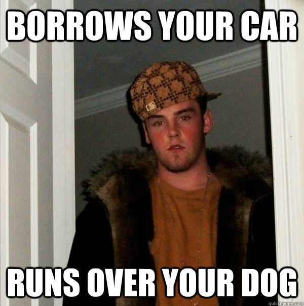 borrows your car runs over your dog - Scumbag Steve