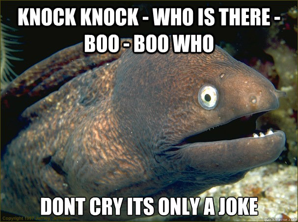 knock knock who is there boo boo who dont cry its only  - Bad Joke Eel