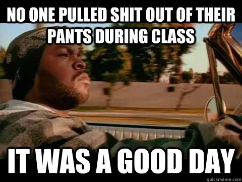 no one pulled shit out of their pants during class it was a  - ice cube good day