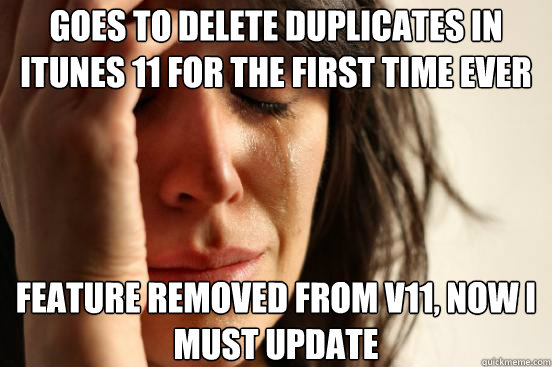 goes to delete duplicates in itunes 11 for the first time ev - First World Problems
