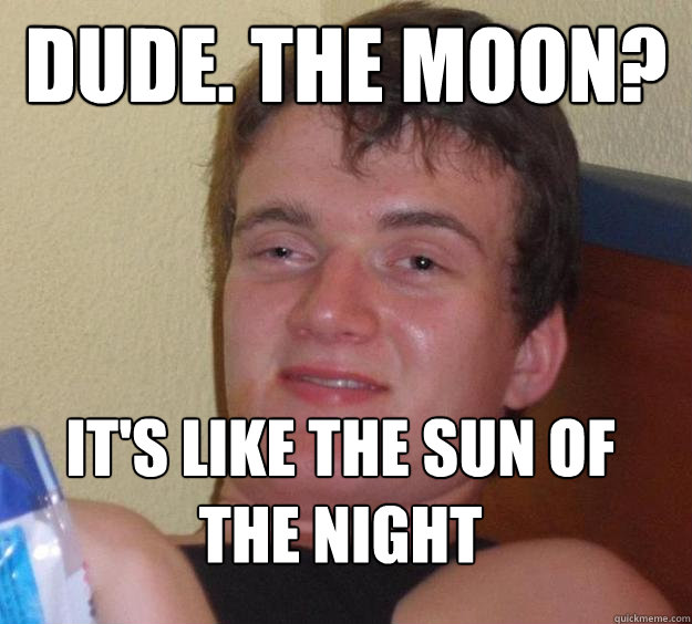 dude the moon its like the sun of the night  - 10 Guy