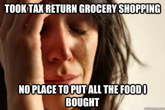 took tax return grocery shopping no place to put all the foo - First World Problems