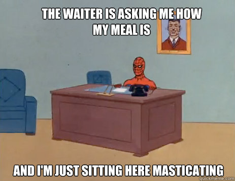 the waiter is asking me how my meal is and im just sitting  - masturbating spiderman