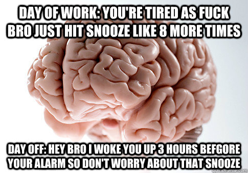 day of work youre tired as fuck bro just hit snooze like 8 - Scumbag Brain
