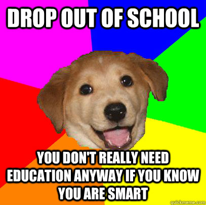 drop out of school you dont really need education anyway if - Advice Dog