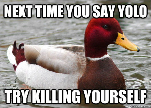 next time you say yolo try killing yourself - Malicious Advice Mallard