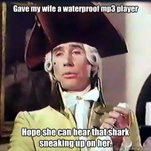 gave my wife a waterproof mp3 player hope she can hear that - Dandy Lad