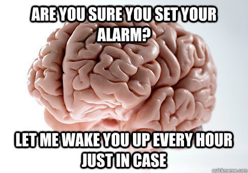 are you sure you set your alarm let me wake you up every ho - Scumbag Brain