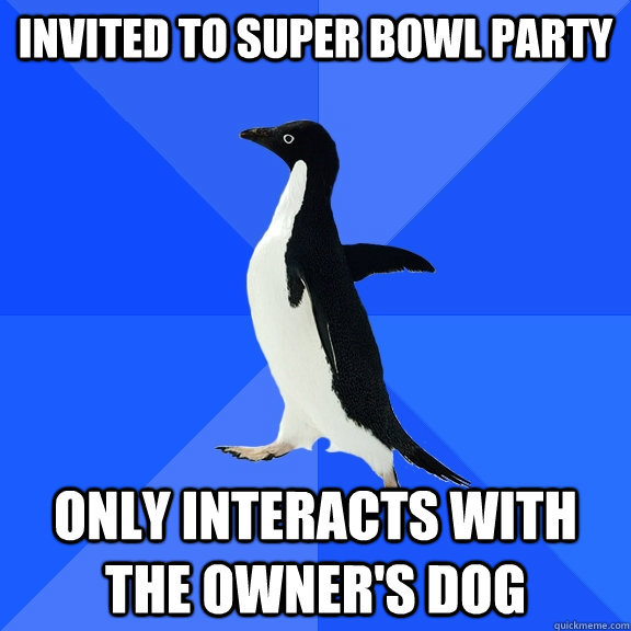 invited to super bowl party only interacts with the owners  - Socially Awkward Penguin