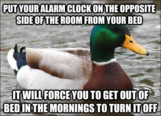 put your alarm clock on the opposite side of the room from y - Actual Advice Mallard
