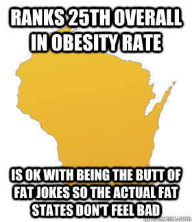 ranks 25th overall in obesity rate is ok with being the butt - 
