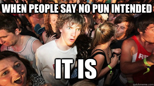 when people say no pun intended it is - Sudden Clarity Clarence