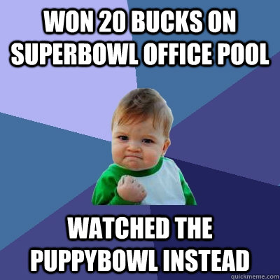 won 20 bucks on superbowl office pool watched the puppybowl  - Success Kid