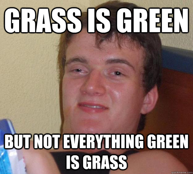grass is green but not everything green is grass - 10 Guy