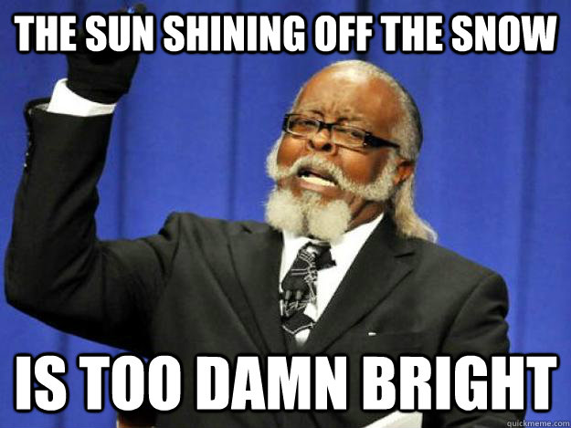 the sun shining off the snow is too damn bright - Toodamnhigh