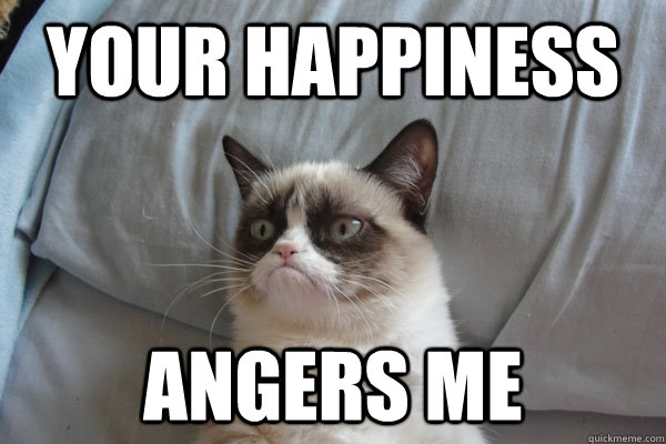 your happiness angers me - GrumpyCat