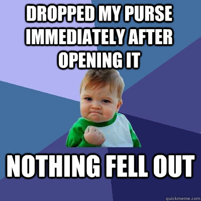 dropped my purse immediately after opening it nothing fell o - Success Kid