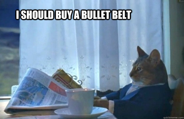 i should buy a bullet belt - Sophisticated Cat
