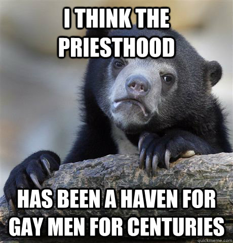 i think the priesthood has been a haven for gay men for cent - confessionbear